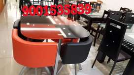 Red color dining table with chair new branded