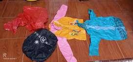 Paketan dua buah jas hujan baju anak, jas hujan plastik baru,cover tas