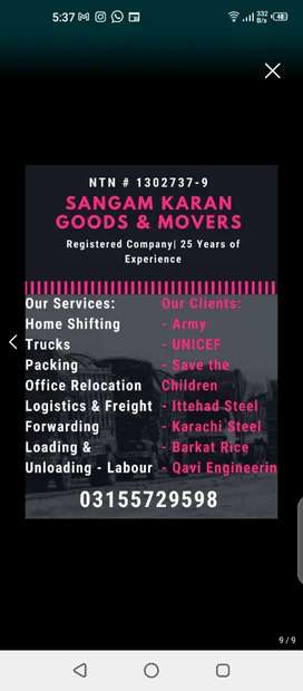 Sangam Karwan Movers Packers provides trucks for home office shifting