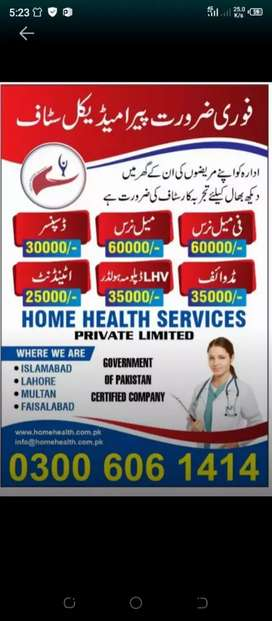 Staff Nurse,Midwife, LHV Diploma Holder, Patient Attendant