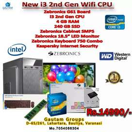 """New pc i3 with 240gb SSD 4gb ram 18.5"""" led monitor key mous 1year"""