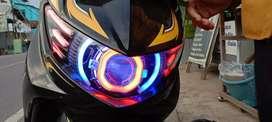 Lampu projektor hid+alis+replektor soul gt