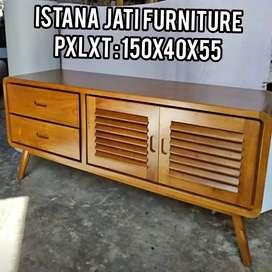 Meja tv 2 pintu bahan kayu jati solid