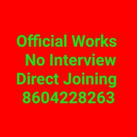 Official Work for 10th & 12th Pass Direct Joining