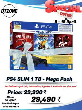 PS4 New Slim 1 TB mega pack bundle - With GST bill & 1 year warranty