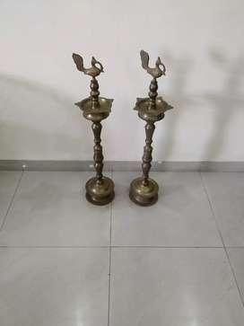 Two brass lamps (Diya)