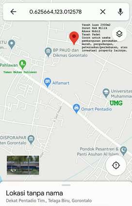 Dijual Cepat Tanah Luas 2930m2 Area Universitas Muhammadiyah Gorontalo
