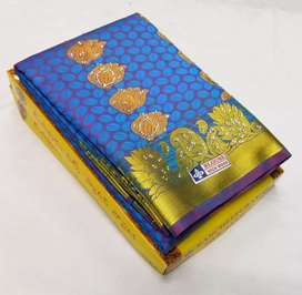 Silk saree with stone embroidery