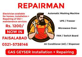 Gas Geyser / Geezer + Electrician repairing and installation services