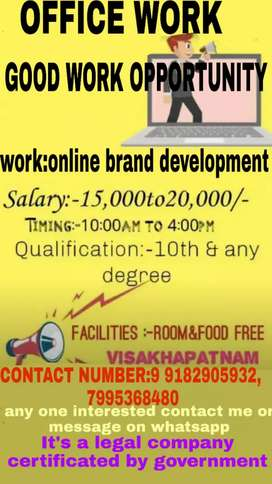 office work urgent vacancies required for male and female