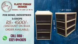 Plastic Storage Drawers (3 in 1) for Home, Office & industrial Use