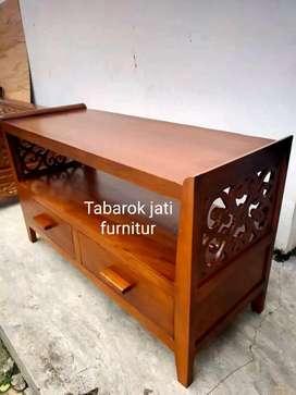 Meja tv minimalis ulir moderen P.100cm, bahan kayu jati tua asli