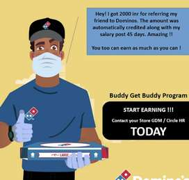 Domino's Pizza delivery job available per delivery 30 rs i