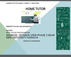 Home tutor ( nathing is better than teaching your child at door step)