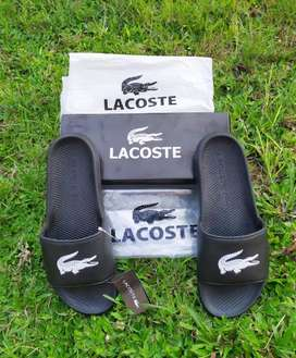 Sendal Lacoste Croco Sandal Slipper Slide Rubber Slides Black Origina