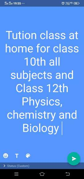 Tution classes for class 10th and 12th.