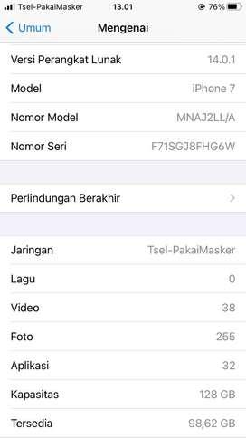 Di jual iPhone 7 128GB Black matte