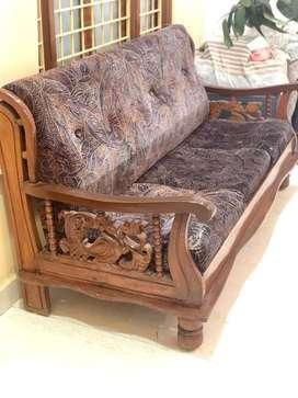 Hand Made Teak Wood(Grade - A) Sofa with detachable cushions.