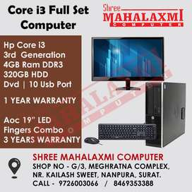 Core i3 Full Set Computer // LED & Keyboard Mouse - 3 Yr. Warranty