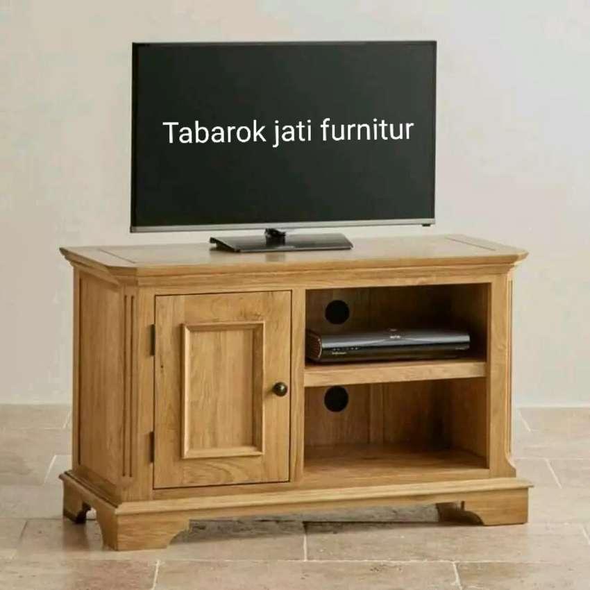 Meja tv minimalis slim moderen & mewah, bahan kayu jati asli 100% 0