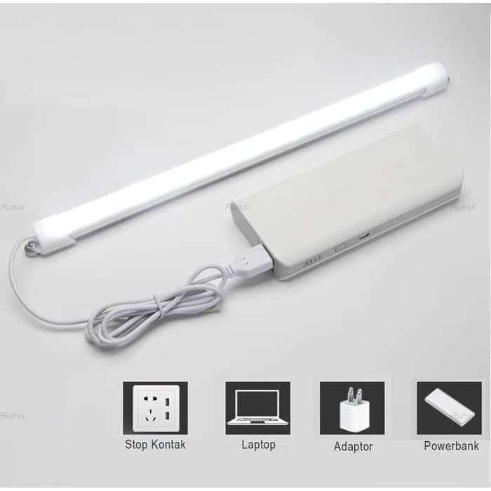 Lampu Neon LED USB Belajar Kerja Rumah Komputer Cahaya Tempel Pjg 32cm 0