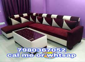 Brand new6 seater sofa set with center table in red and white color