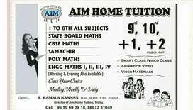 Trichy city any place any time home tuition available