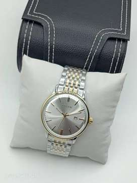Citizen Silver Dial Two Tone Golden Bezel Curved Glass Mens Watch