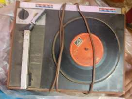 Record player with records old Film songs.