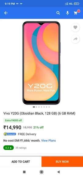 Vivo Y20g 6gb ram 128gb storage