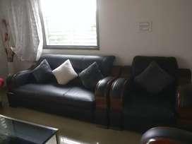 5 seater sofa set leather black 3+1+1