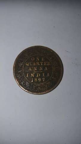 OLD 1897 ONE QUARTER ANNA COIN