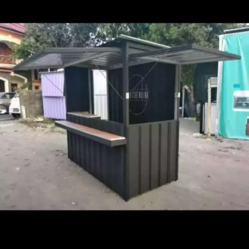 Pembuatan booth semi container kontainer