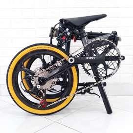 Sepeda Lipat Camp Hazy 11 Sp Black Grey Whelset Carbon 3 Spoke Limited