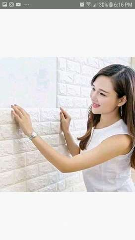 PROMO - Wallpaper 3D Modern Foam Batu Bata Ukuran 70 X 77 Wall Sticker