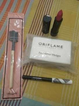 Paket Lipstik Semi Matte, Spon Foundation, Pensil Mata, Sikat Alis