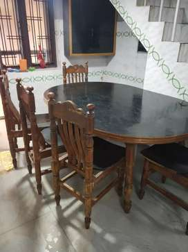 Dining table 6 chairs teak wood