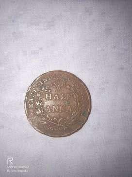 HALF ANNA COIN EAST INDIA COMPANY
