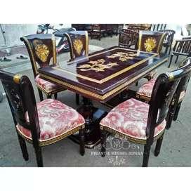 Set meja makan klasik kain jok motif