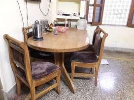 Dining table  six chair sagaun wood
