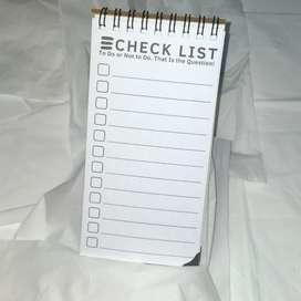 Buku Memo Dan Check List