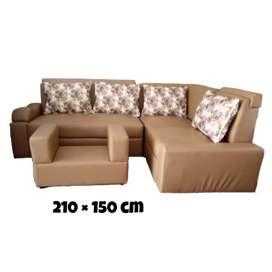 Sofa sudut caramel