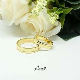 Emas kuning emas kawin cincin couple bisa reques bahan untuk lamaran