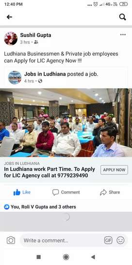 Do You want Some Part Time Work. In Ludhiana Apply LIC Agency
