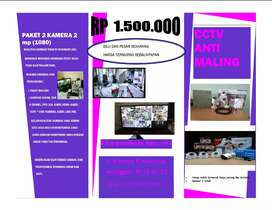 Paket cctv 2 kamera HD full HD dvr bisa di pantau dari hp