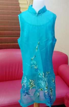 Baju dress ciongsam remaja import usia 14 -16 tahun biru sangat bagus