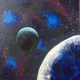 Space art painting 1x1 original