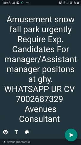 Job Opening, Required M/F Candidates for manager positions
