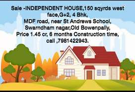 Sale Ind house,150 sqyrd,West ,G2, old bowenpally, nr Andrews,1.55 cr