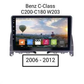 Paket Head unit Android 9.0 Pie untuk BENZ C-CLASS C200 thn 2006-12